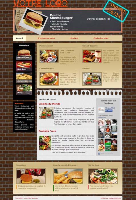 Site web dynamique décoration restaurant américain