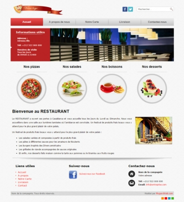 Site internet restaurant Restaurant panoramique classique Pizza Fast Food